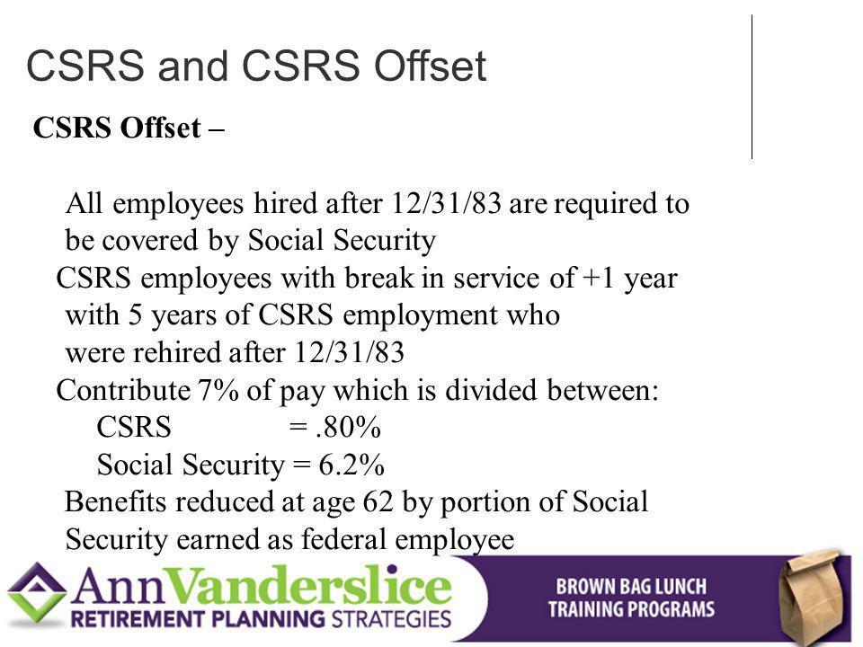 CSRS and CSRS Offset CSRS Offset –