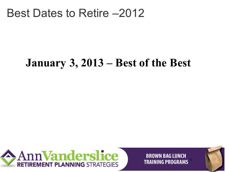 January 3, 2013 – Best of the Best