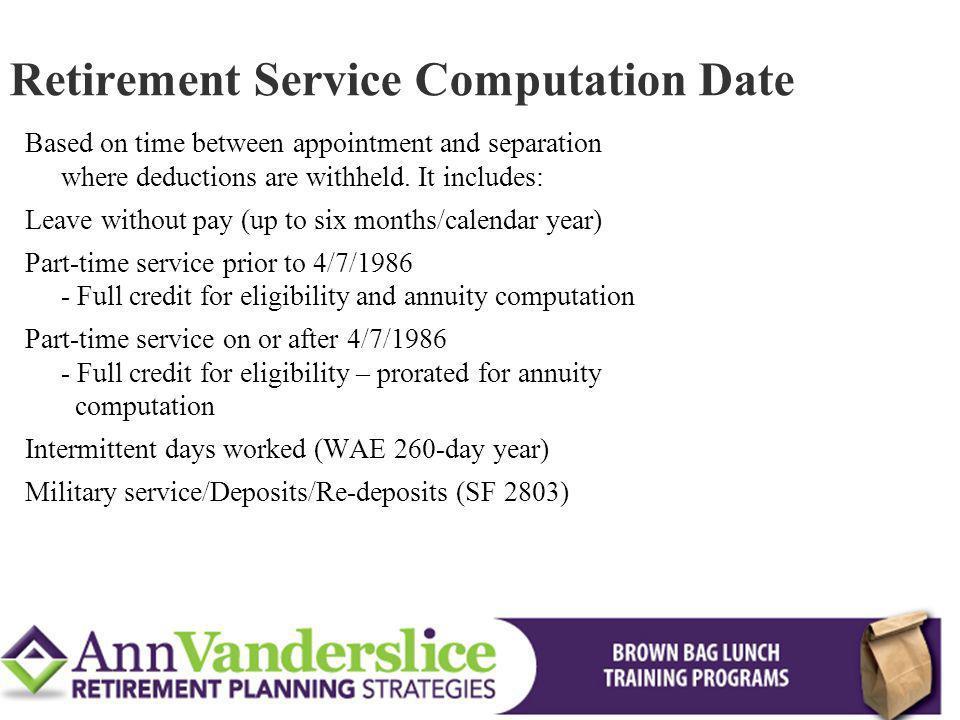 Retirement Service Computation Date