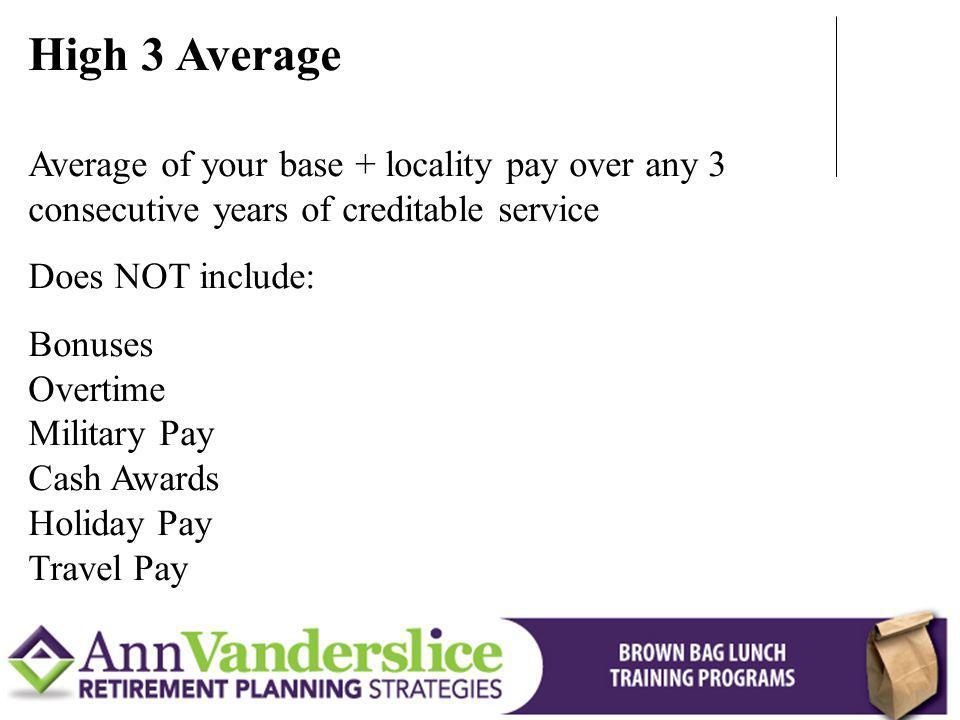 High 3 Average Does NOT include:
