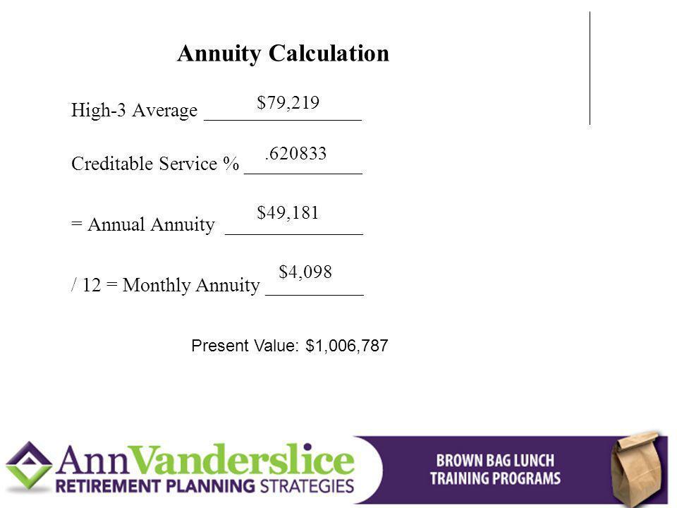 Annuity Calculation High-3 Average ________________