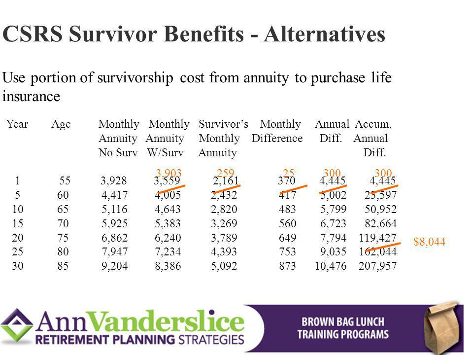 CSRS Survivor Benefits - Alternatives