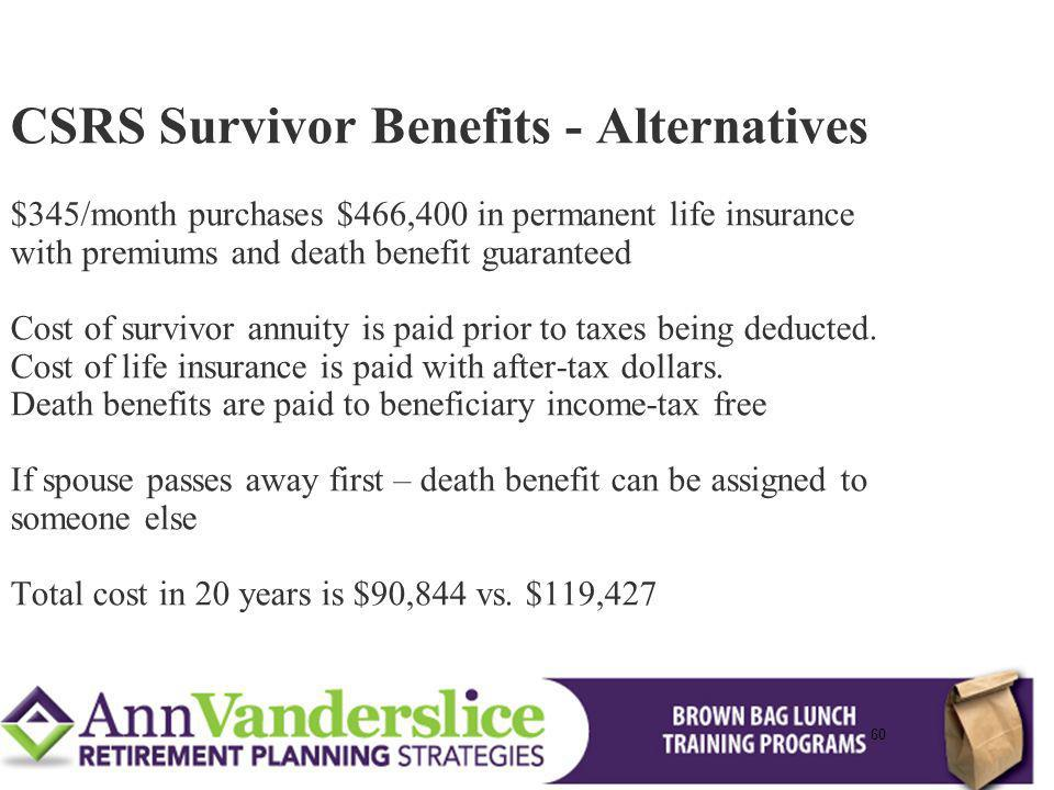 CSRS Survivor Benefits - Alternatives $345/month purchases $466,400 in permanent life insurance with premiums and death benefit guaranteed Cost of survivor annuity is paid prior to taxes being deducted. Cost of life insurance is paid with after-tax dollars. Death benefits are paid to beneficiary income-tax free If spouse passes away first – death benefit can be assigned to someone else Total cost in 20 years is $90,844 vs. $119,427