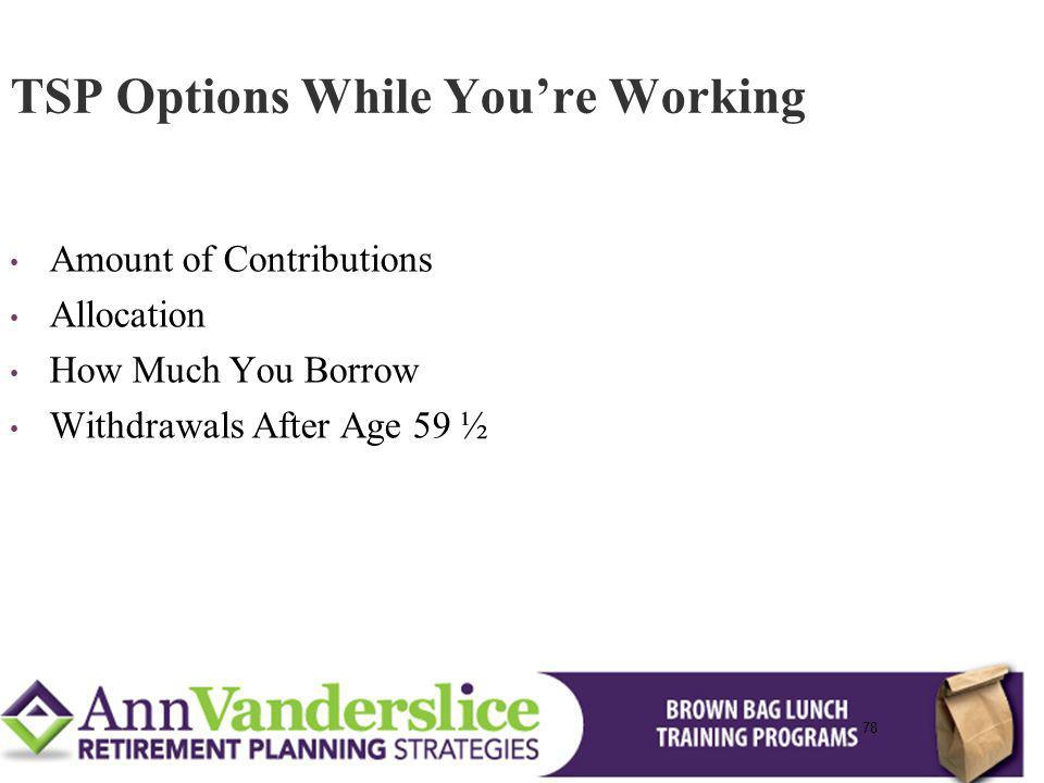 TSP Options While You're Working