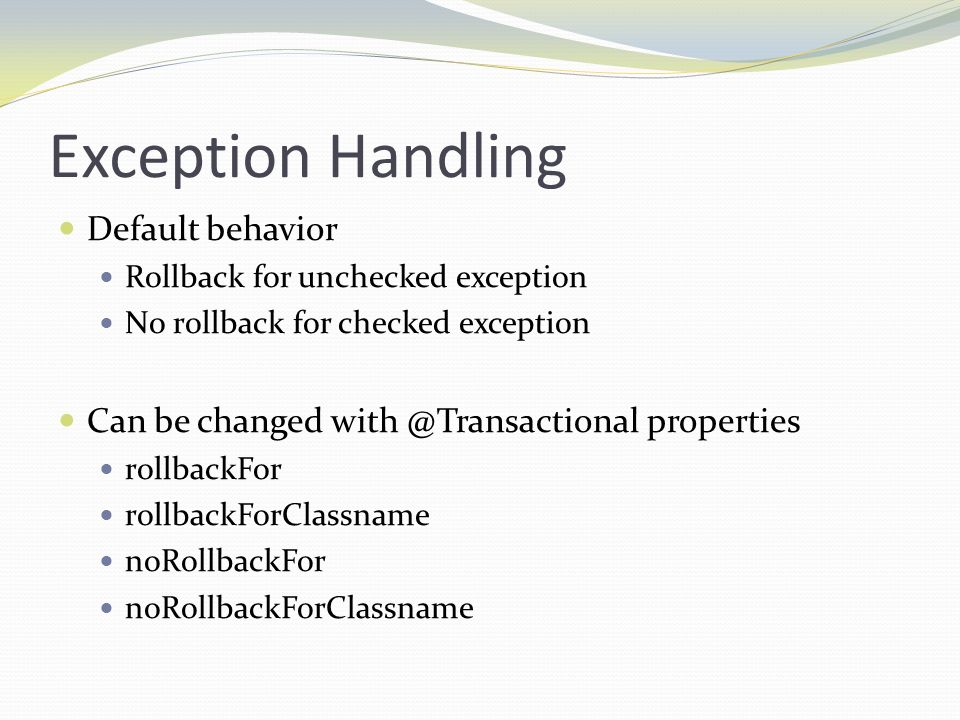 Exception Handling Default behavior