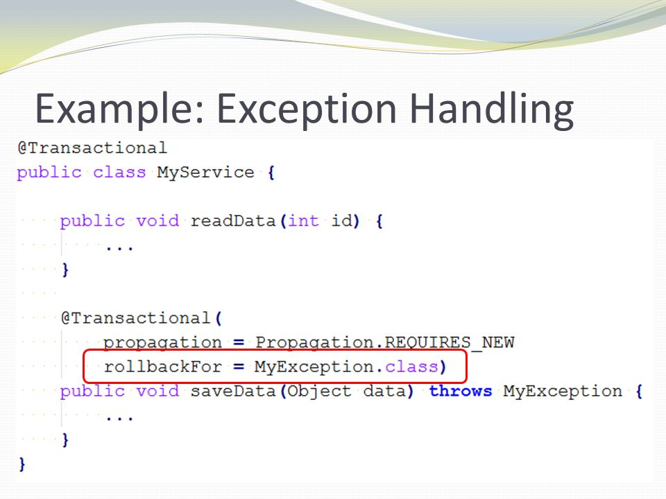 Example: Exception Handling