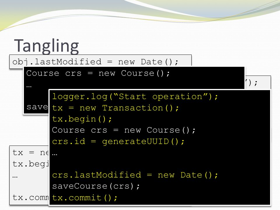 Tangling obj.lastModified = new Date(); Course crs = new Course(); …