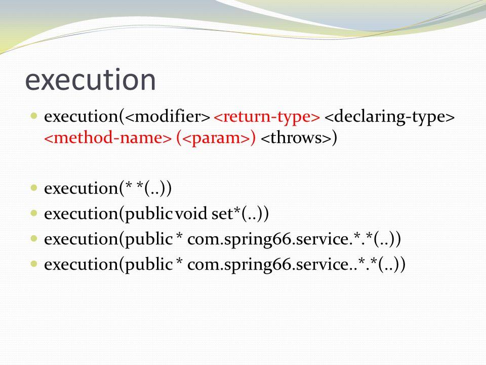 executionexecution(<modifier> <return-type> <declaring-type> <method-name> (<param>) <throws>) execution(* *(..))