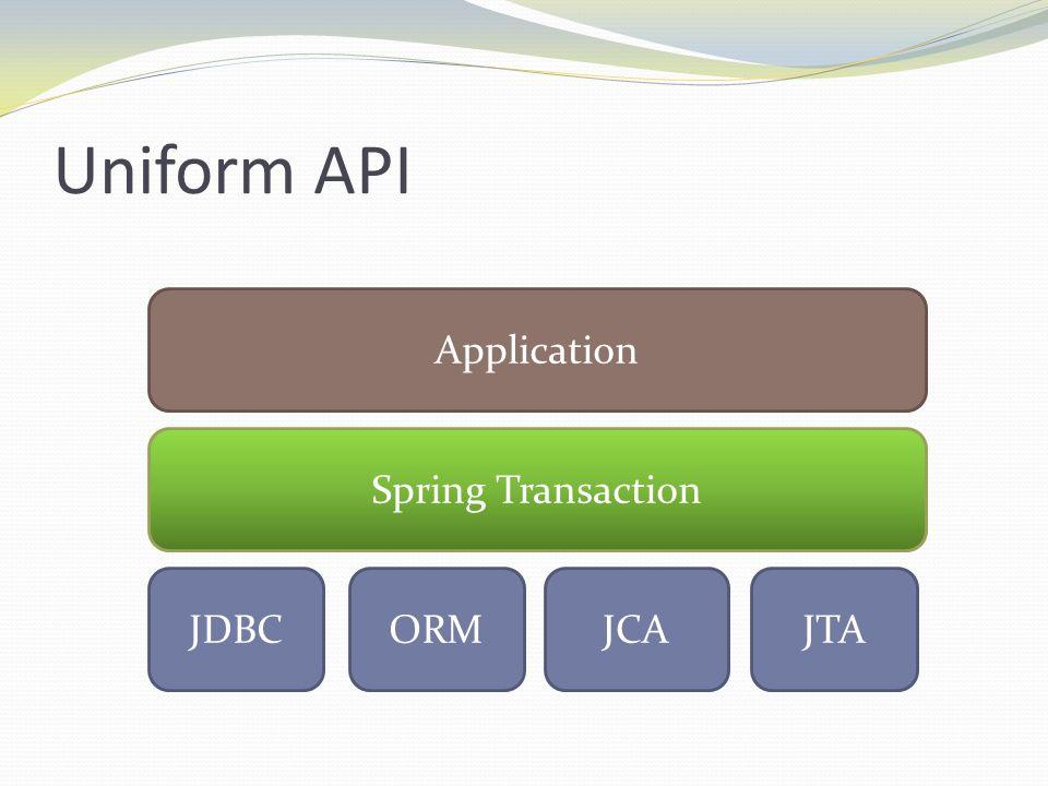 Uniform API Application Spring Transaction JDBC ORM JCA JTA