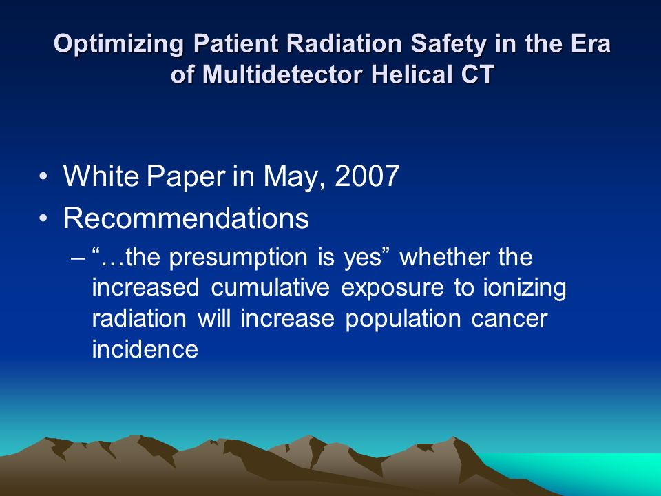 White Paper in May, 2007 Recommendations