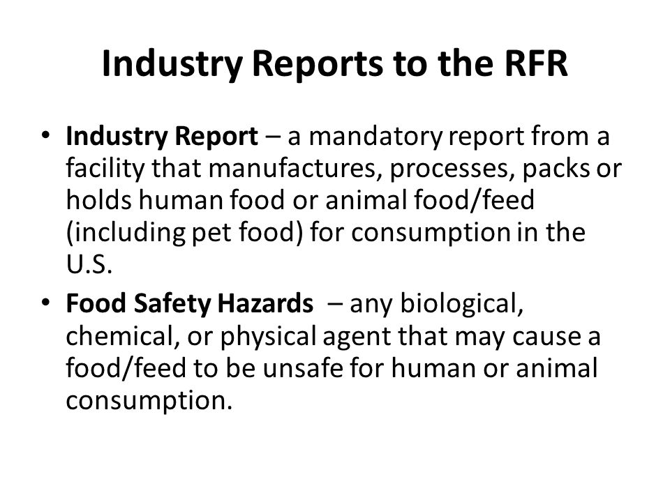 Industry Reports to the RFR