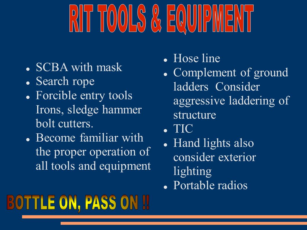 RIT TOOLS & EQUIPMENT BOTTLE ON, PASS ON !! Hose line