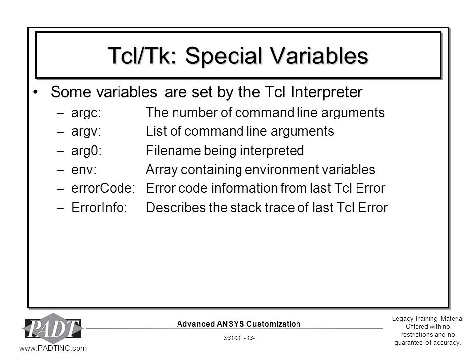 Tcl/Tk: Special Variables