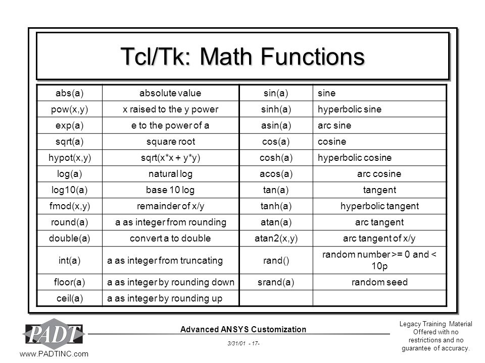 Tcl/Tk: Math Functions