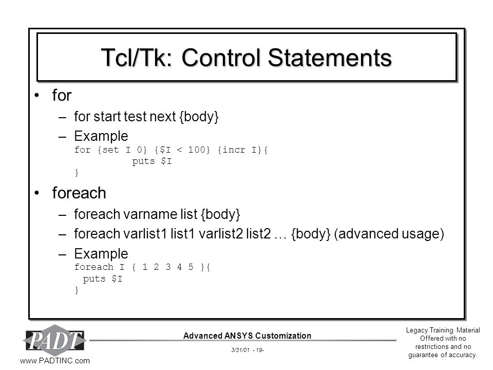 Tcl/Tk: Control Statements