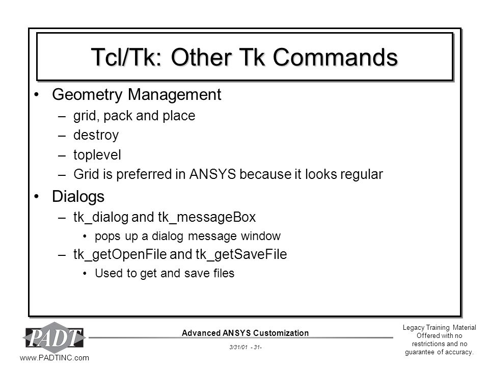 Tcl/Tk: Other Tk Commands