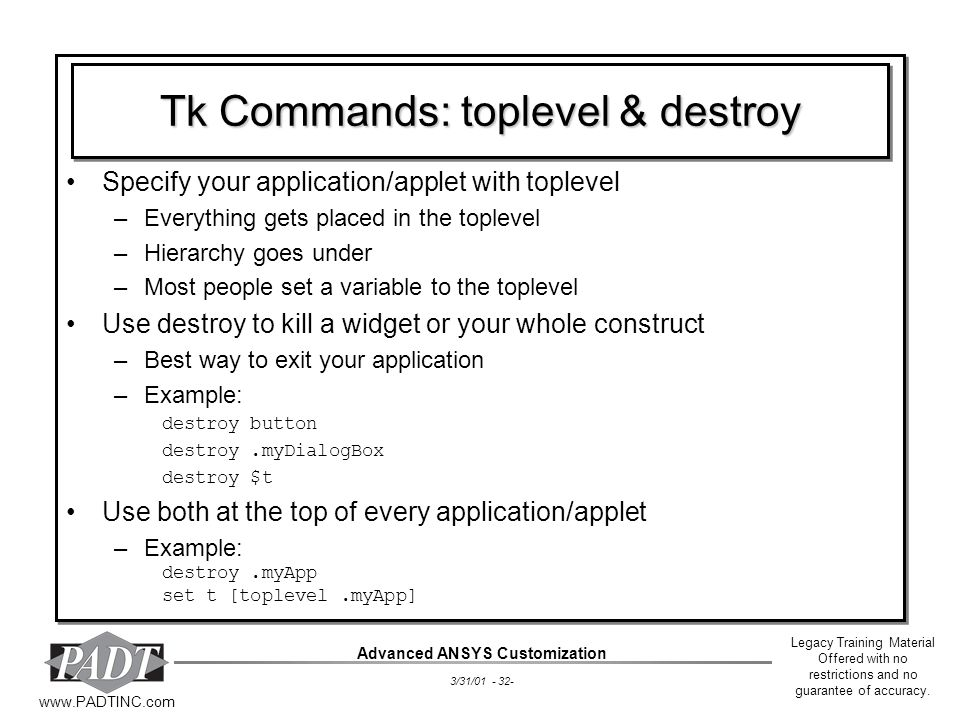 Tk Commands: toplevel & destroy