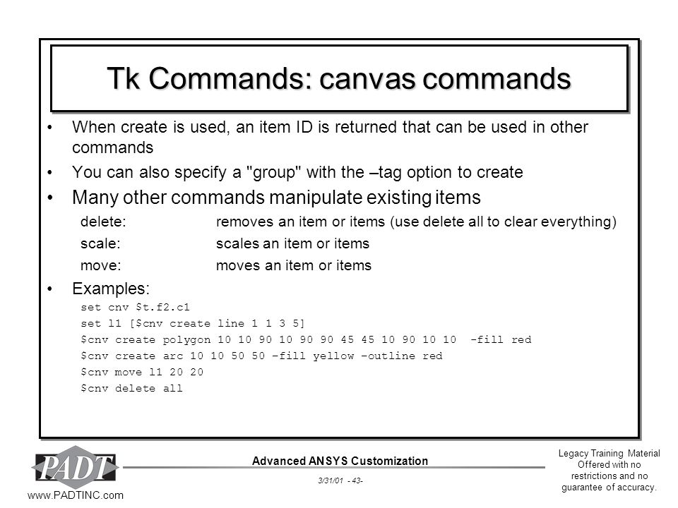 Tk Commands: canvas commands