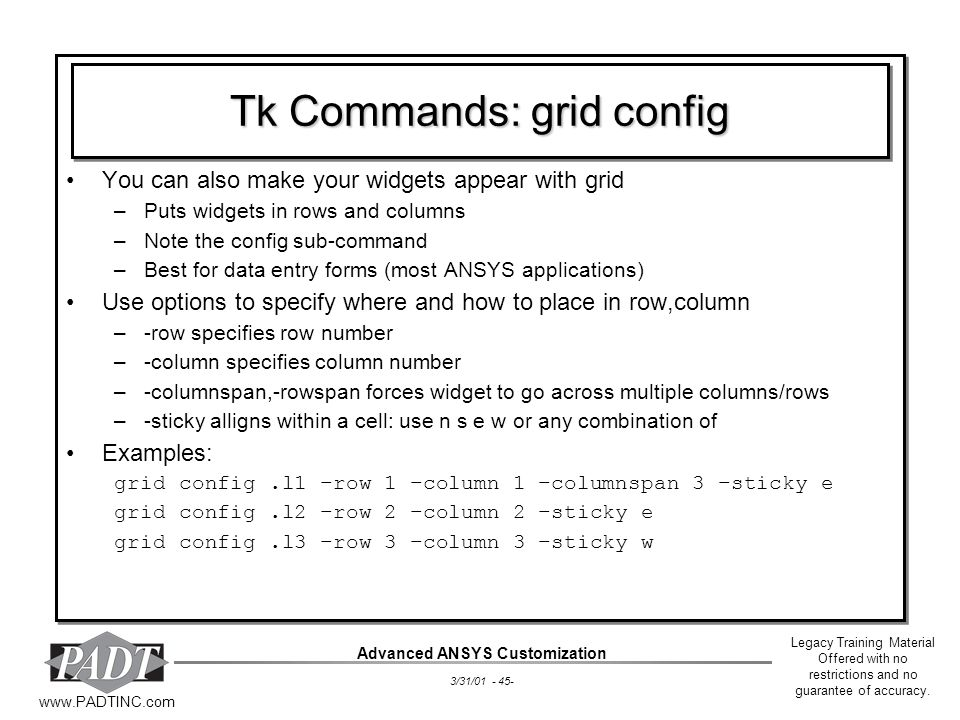 Tk Commands: grid config
