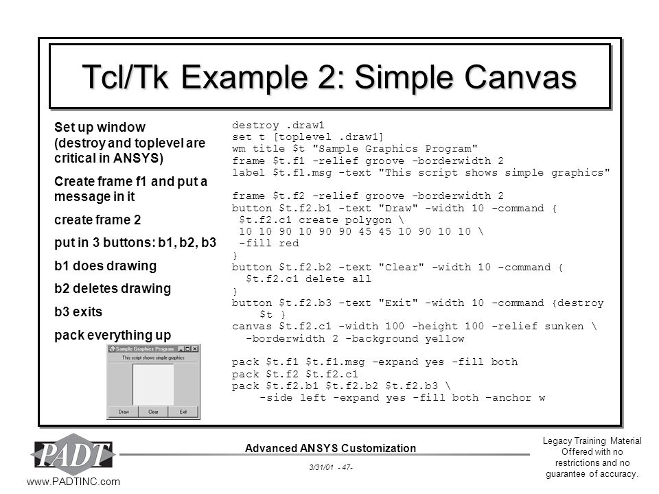Tcl/Tk Example 2: Simple Canvas