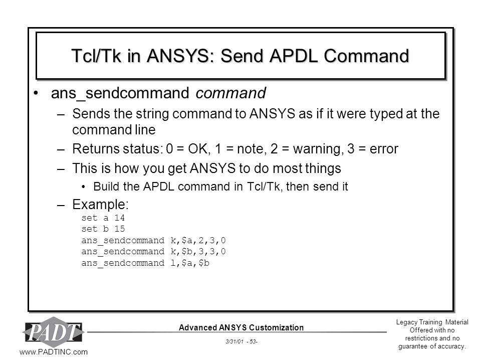 Tcl/Tk in ANSYS: Send APDL Command