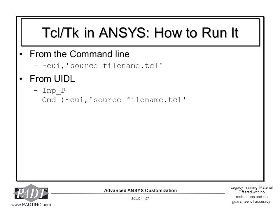 Tcl/Tk in ANSYS: How to Run It