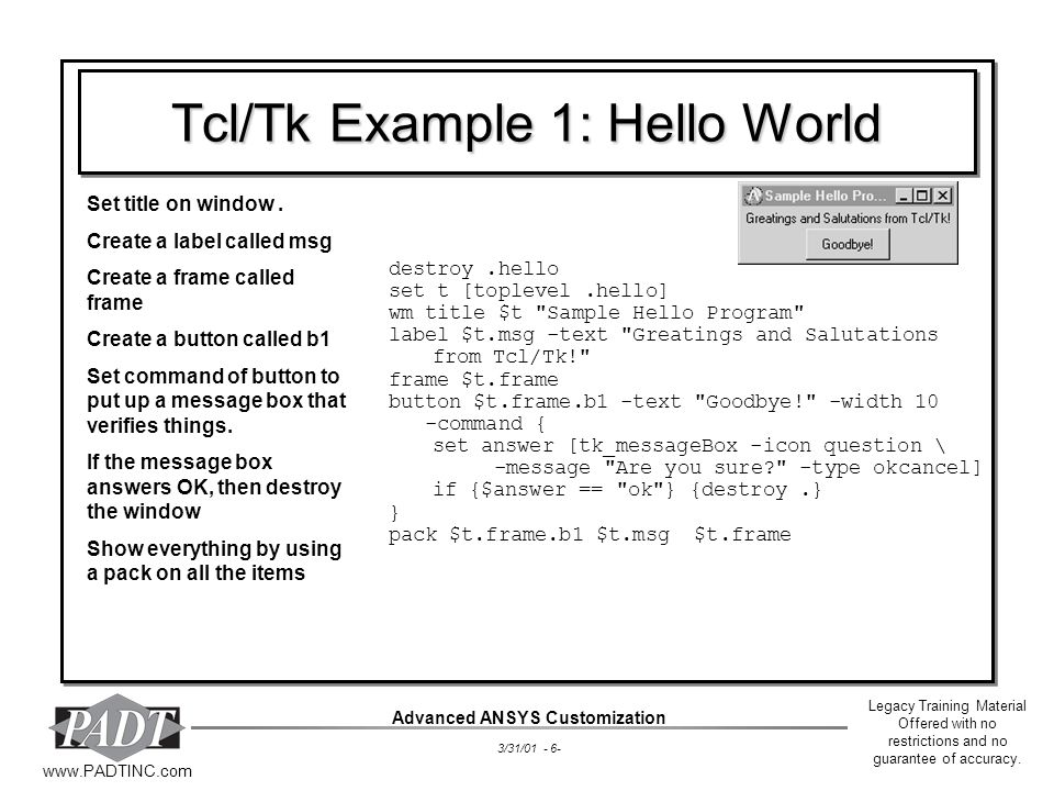 Tcl/Tk Example 1: Hello World