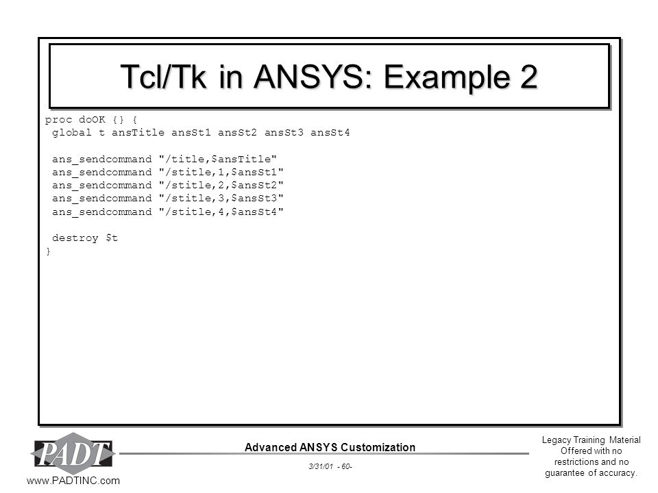 Tcl/Tk in ANSYS: Example 2