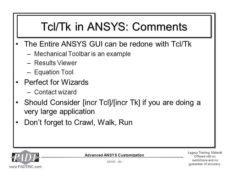 Tcl/Tk in ANSYS: Comments