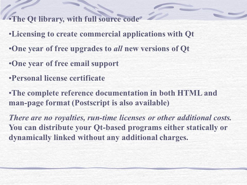 The Qt library, with full source code