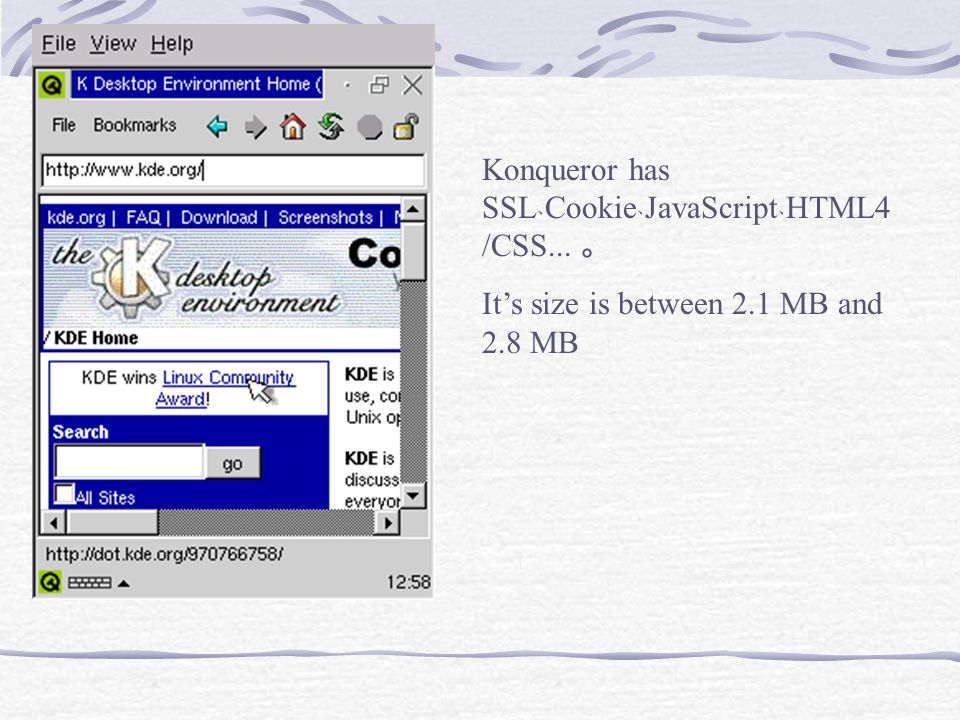 Konqueror has SSL﹑Cookie﹑JavaScript﹑HTML4/CSS... 。
