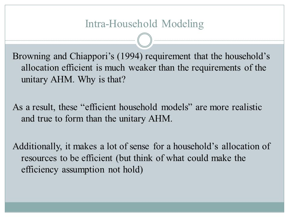 Intra-Household Modeling