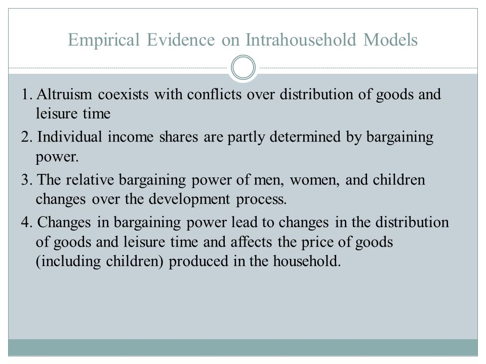 Empirical Evidence on Intrahousehold Models