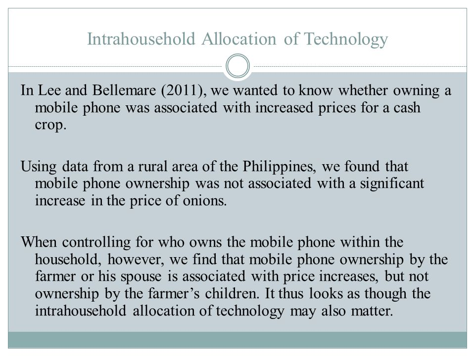 Intrahousehold Allocation of Technology