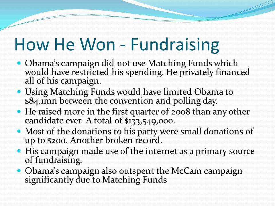 How He Won - Fundraising