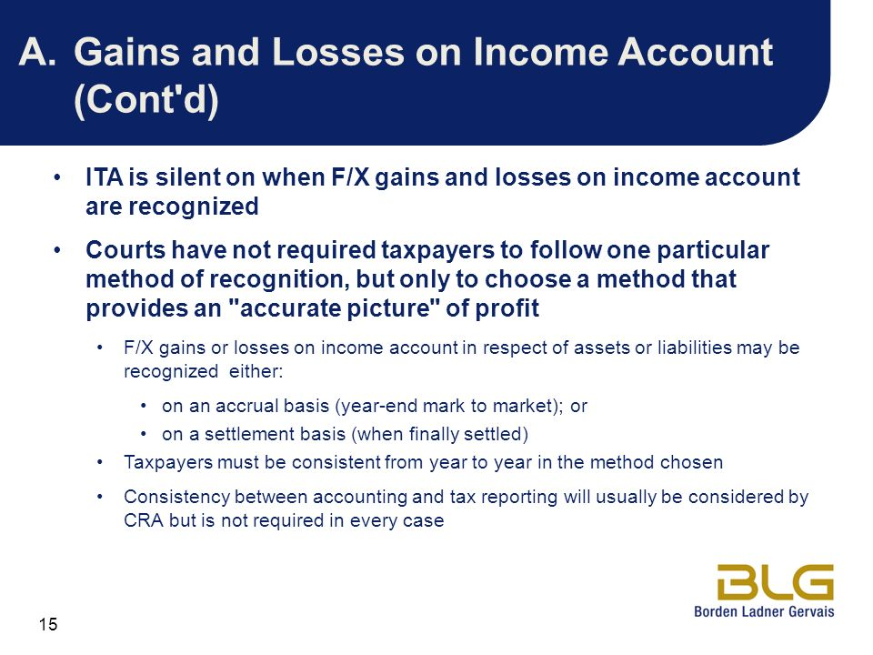 A. Gains and Losses on Income Account (Cont d)