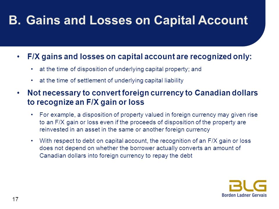 B. Gains and Losses on Capital Account