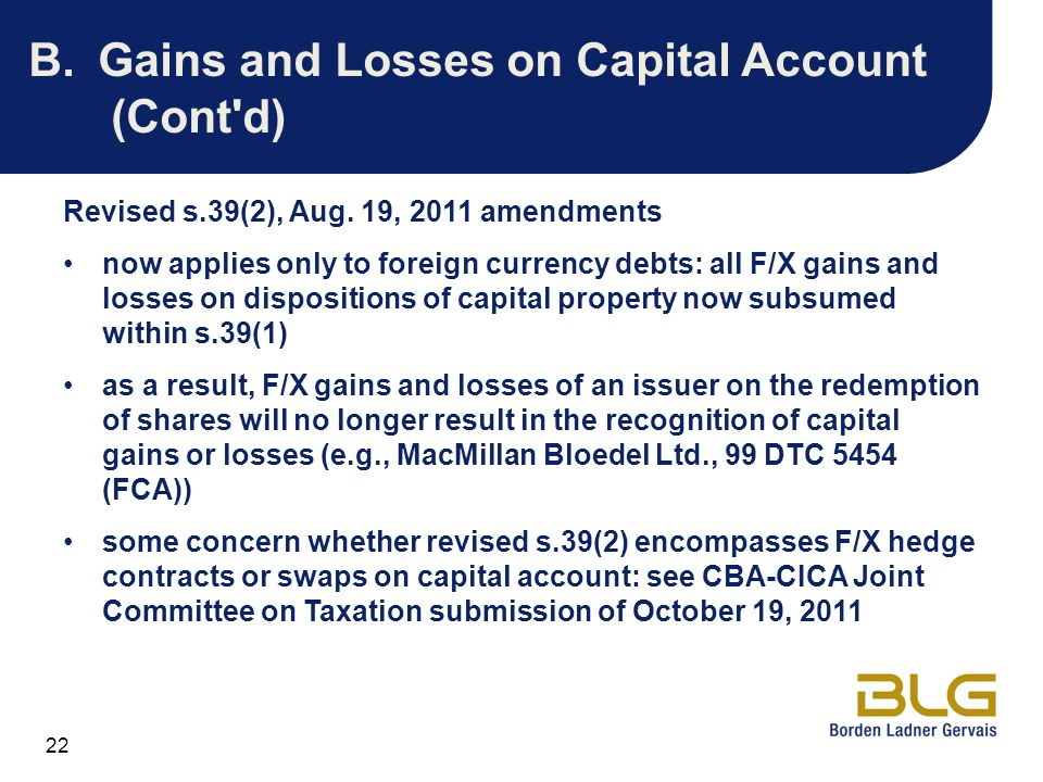 Gains and Losses on Capital Account (Cont d)