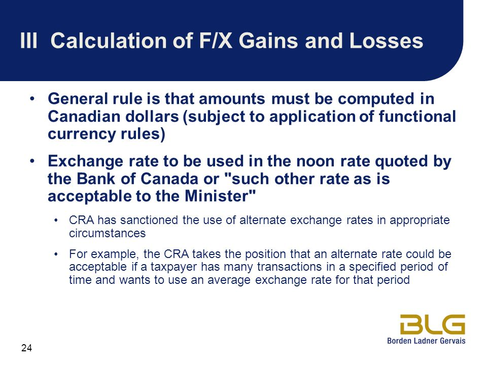 III Calculation of F/X Gains and Losses