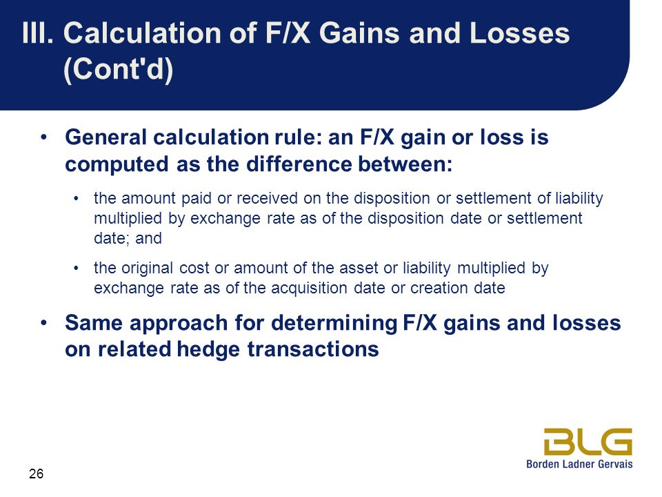 Forex gain and loss computation