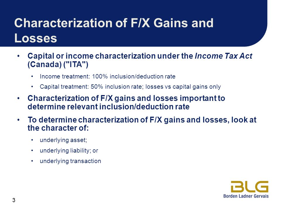Characterization of F/X Gains and Losses