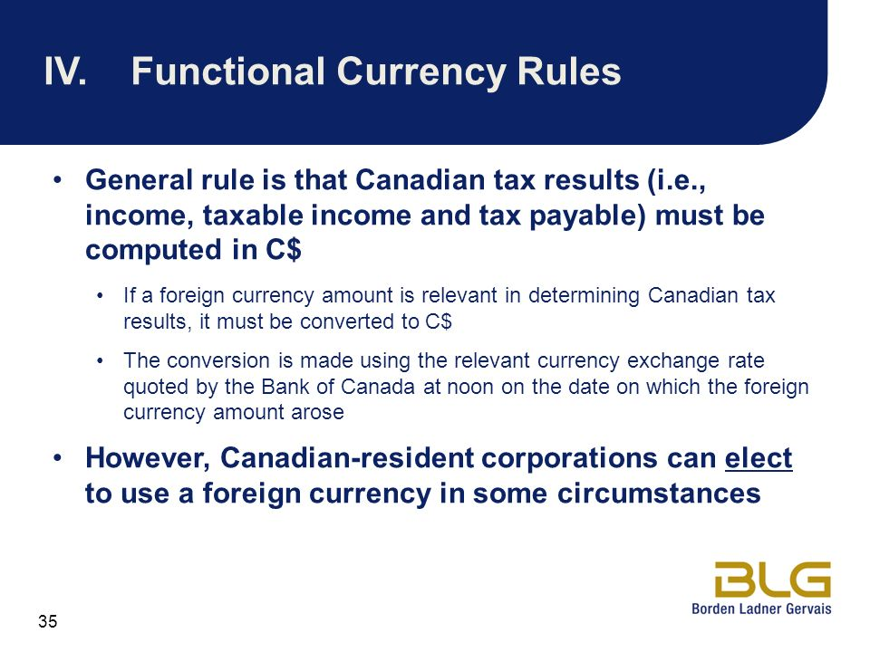 IV. Functional Currency Rules