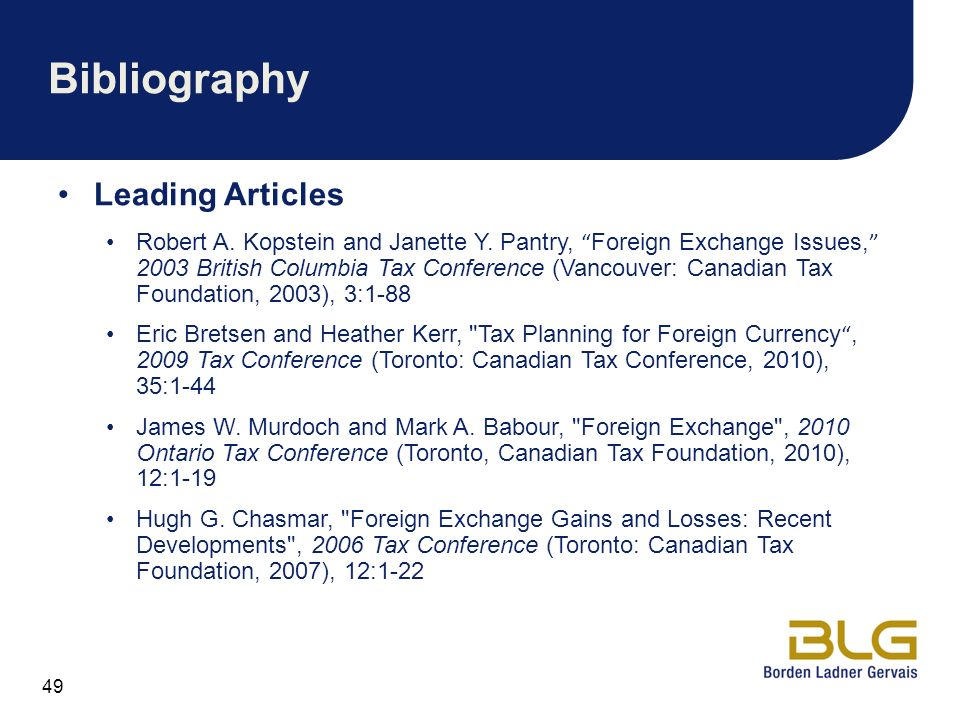 Bibliography Leading Articles