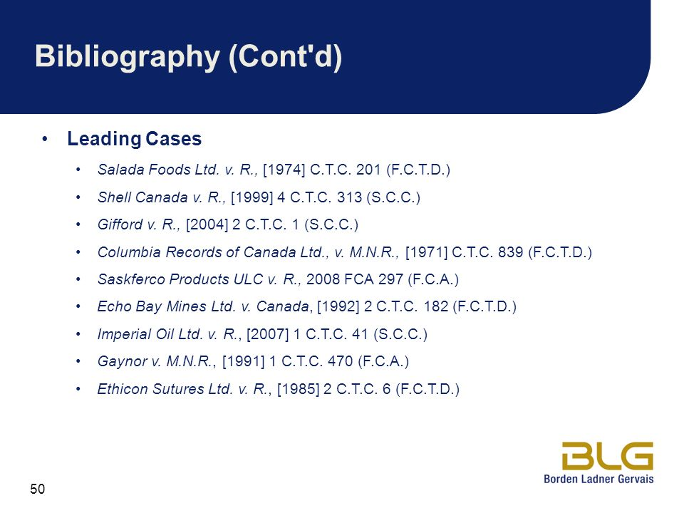 Bibliography (Cont d) Leading Cases