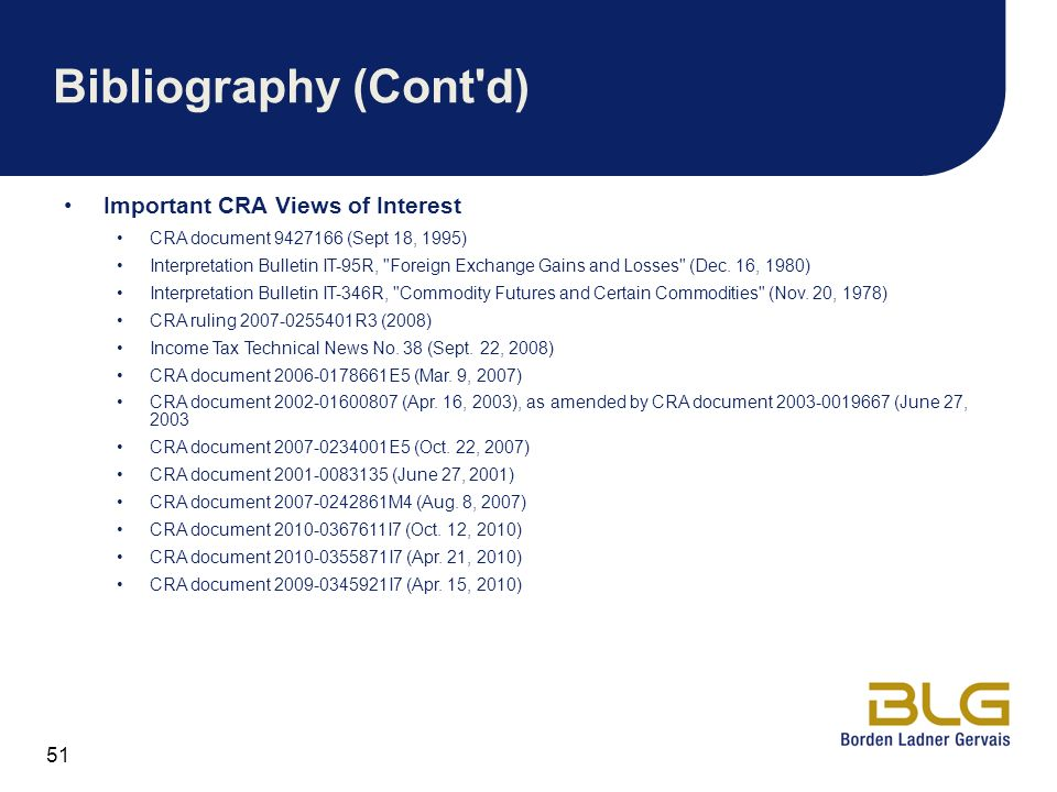 Bibliography (Cont d) Important CRA Views of Interest