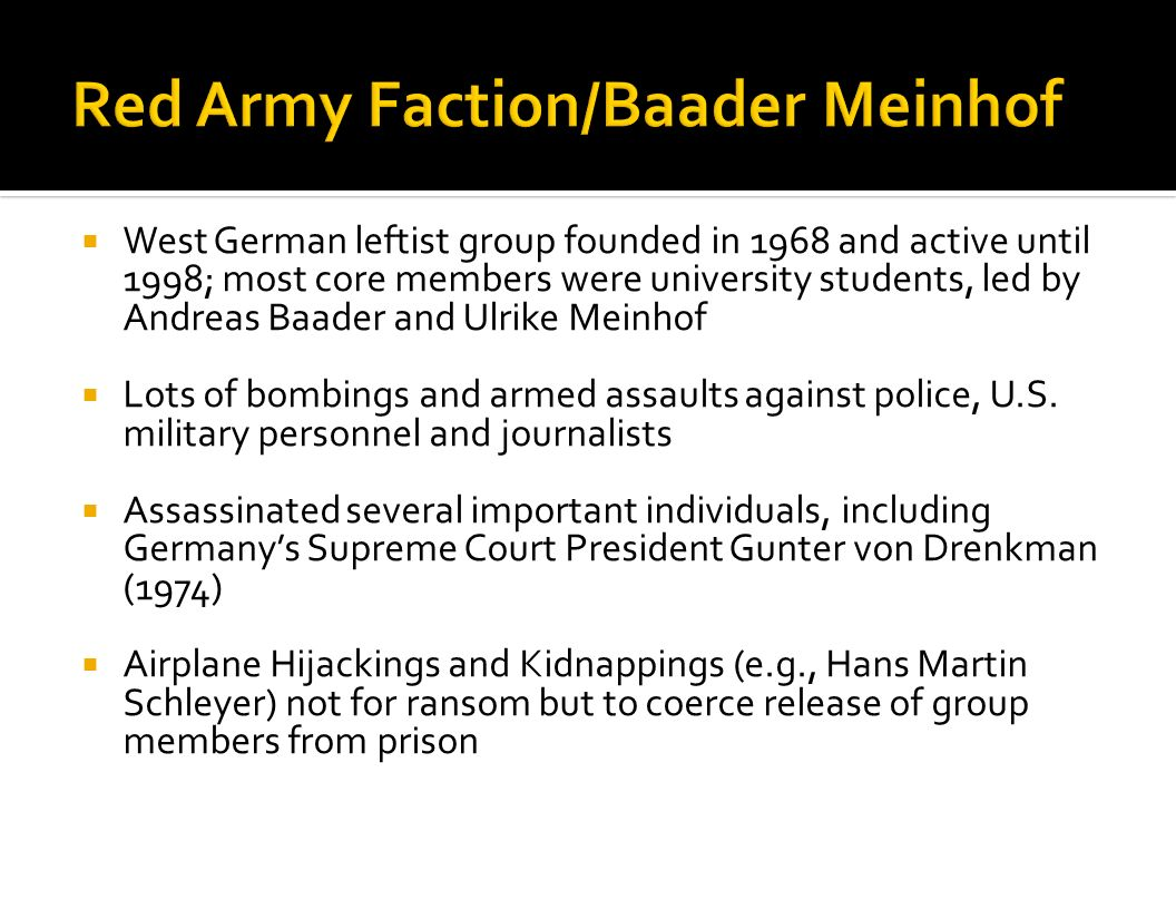 Red Army Faction/Baader Meinhof
