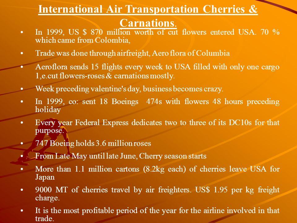 International Air Transportation Cherries & Carnations.