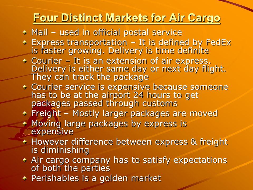 Four Distinct Markets for Air Cargo