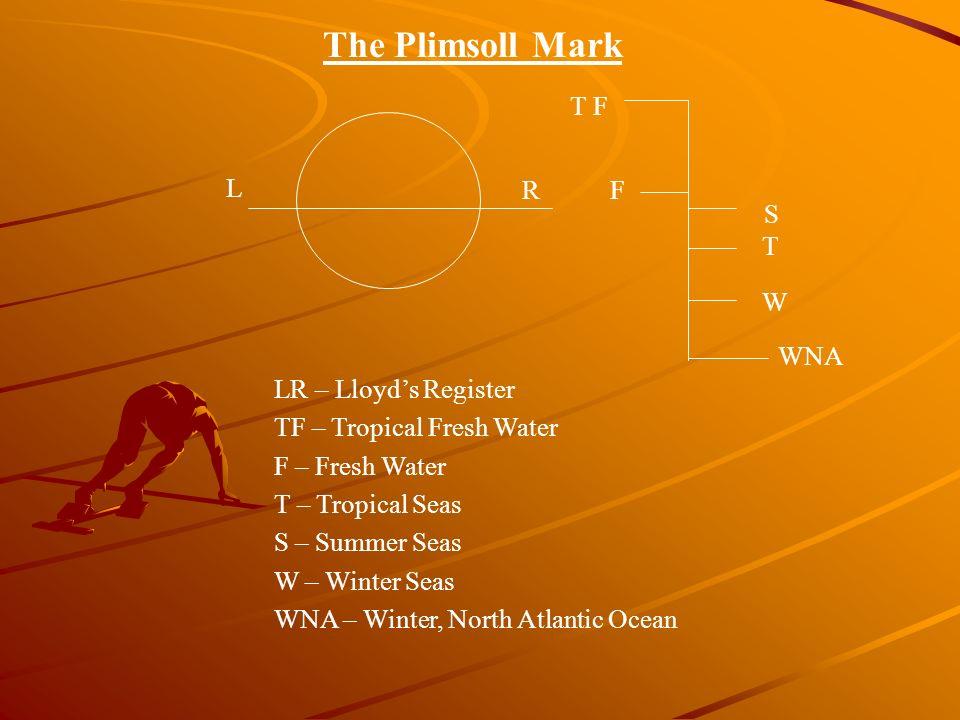 The Plimsoll Mark T F L R F S T W WNA LR – Lloyd's Register