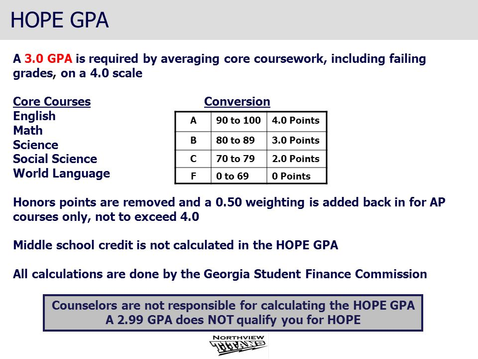 HOPE GPAA 3.0 GPA is required by averaging core coursework, including failing grades, on a 4.0 scale.